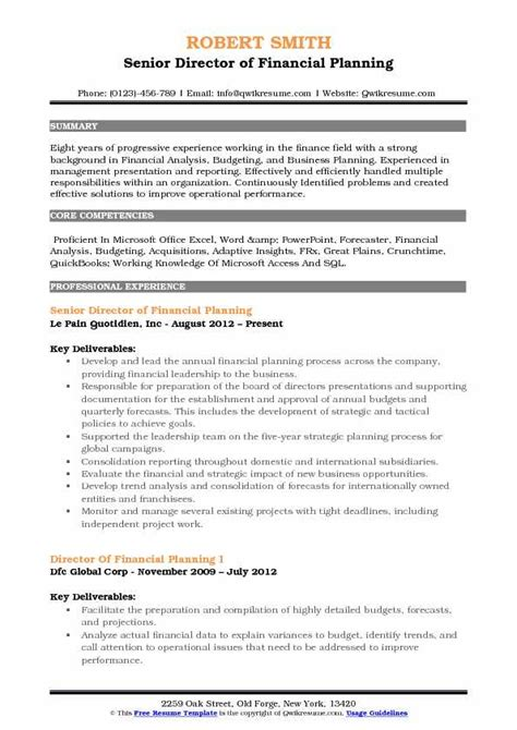 director  financial planning resume samples qwikresume