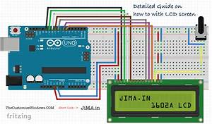 1602a Lcd Display Arduino Connection  Blue Light White