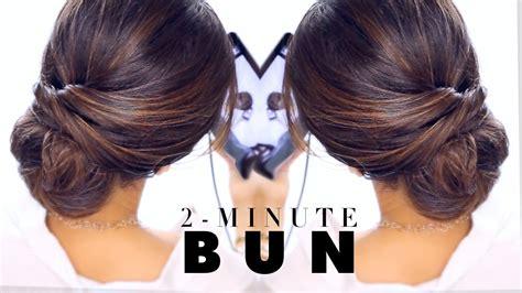 minute elegant bun hairstyle easy updo hairstyles
