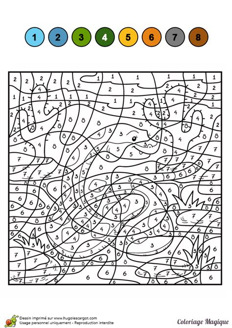 Dessin à Colorier D'un Coloriage Magique Cm2, Le Serpent