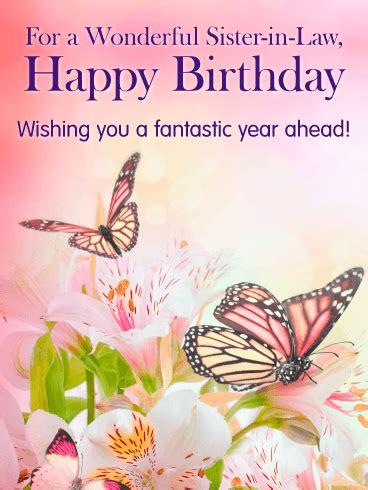 butterflies flowers happy birthday card  sister