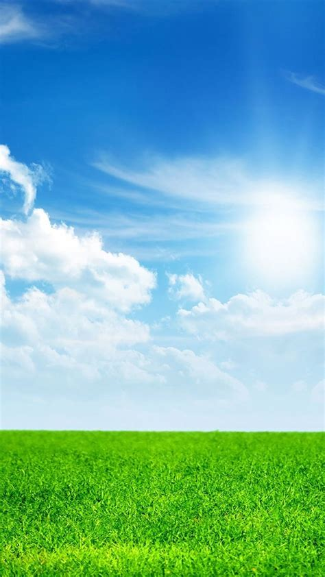 nature green land  blue sky iphone  wallpapers