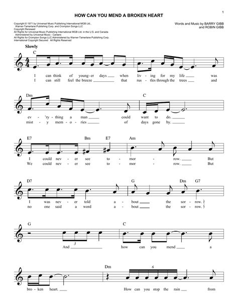 How Can You Mend A Broken Heart Sheet Music   The Bee Gees
