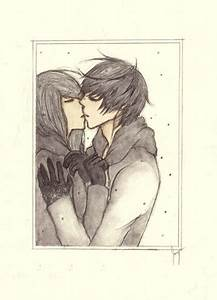 How to draw girl kiss Boy