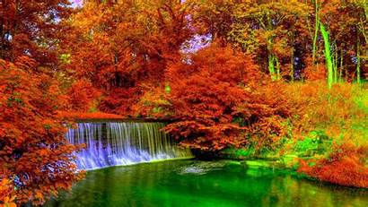 Autumn Colorful Wallpapers Foliage Waterfall Awesome Computer