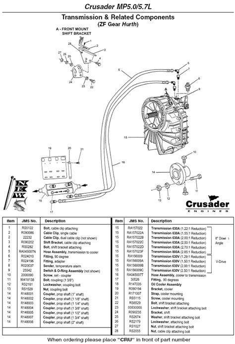 Crusader Fuel Wiring Diagram by Crusader Engine Parts Mp5 0 5 7l Zf Gear Hurth