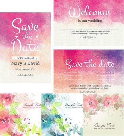 watercolor wedding cute cards vector