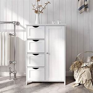 Ktaxon, Wooden, Bathroom, Floor, Cabinet, Side, Storage, Organizer, Cabinet, With, 4, Drawers, And, 1