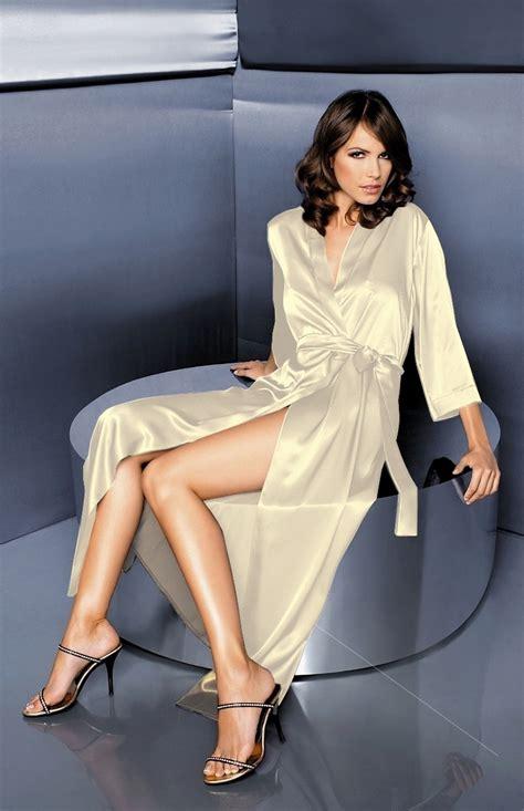 robe de chambre en satin pour femme satin ivory negligee alexia w00998i idresstocode