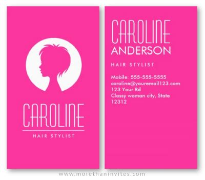 hot pink fashion hair stylist  beautician business card