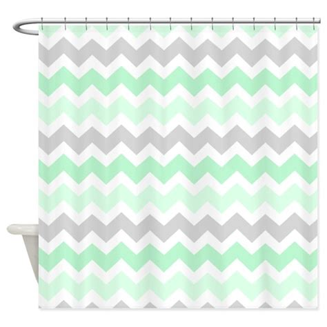 mint grey white chevron stripes shower curtain by