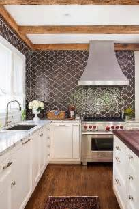 moroccan tiles kitchen backsplash white and brown kitchen with brown granite counters transitional kitchen