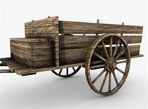 low poly wooden old cart 3D Model MAX OBJ 3DS FBX C4D ...