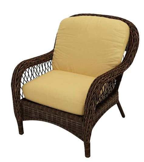 leona wicker patio lounge chair canvas wheat cushions