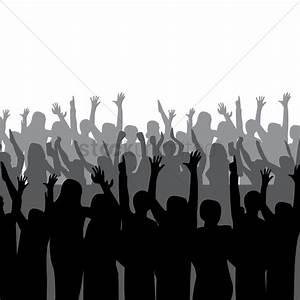 Silhouette of crowd cheering Vector Image - 2000094 ...