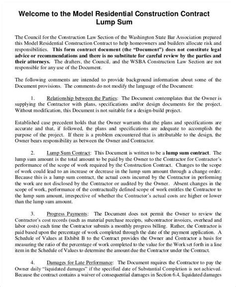 Responsibility Contract Template by Construction Contract Template 12 Free Word Pdf