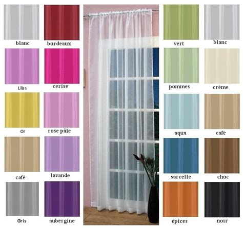 rideau voilage panneau uni ourlet passe tringle 16 couleurs 4 tailles ebay