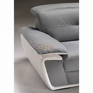 canape d39angle cuir bicolore avec tetiere inclinable With canape d angle bicolore