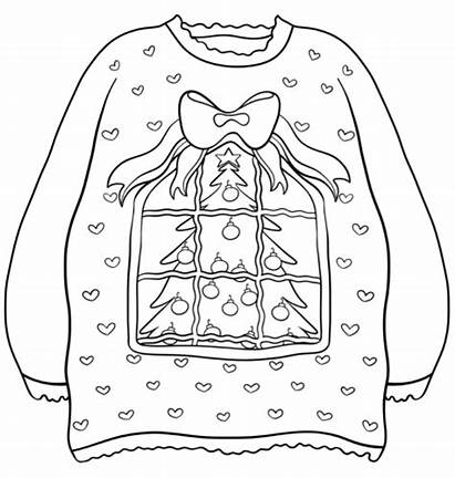Sweater Ugly Coloring Christmas Pages Decoration Printable