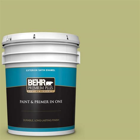 behr premium plus 5 gal 400d 5 grass cloth satin enamel exterior paint and primer in one