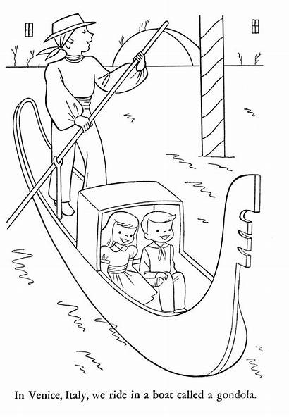 Coloring Pages Gondola Venice Sheets Around Italy