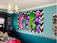 teen wall decor Large Custom Graffiti Chevron Personalized Painting Wall Canvas Bright Colored for Girls Teen ...