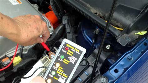 checking  prius start battery voltage   display
