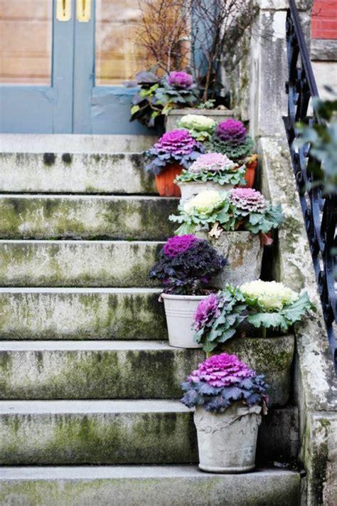 Garten Deko Ideen  Die Garten Oder Haustreppe Mit Blumen