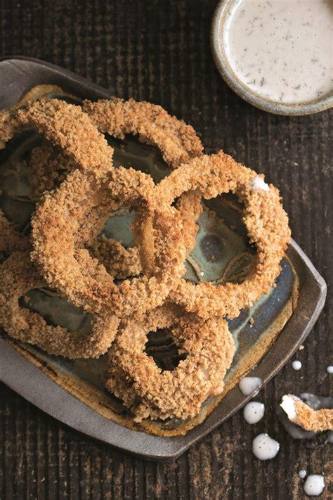 battered air fryer onion rings recipe healthy vegan
