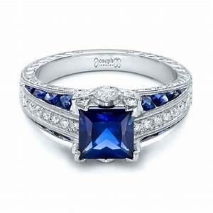 custom blue sapphire and diamond engagement ring 102163 With blue sapphire and diamond wedding rings