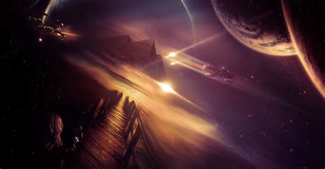 outer space dock planets wallpapers hd desktop