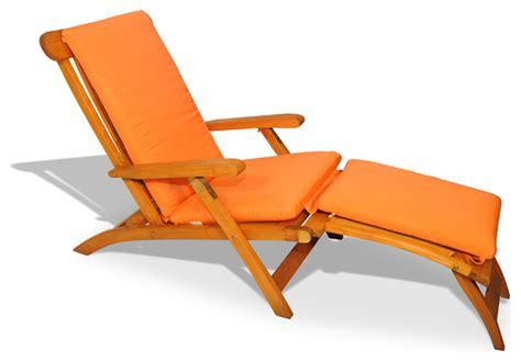 teak steamer chair chaise lounge with sunbrella cushion