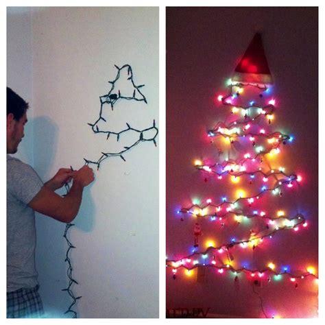 christmas tree made of lights on wall home design