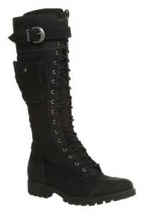 womens boots knee high leather 39 s timberland atrus knee high zip lace up black leather boots with pocket ebay