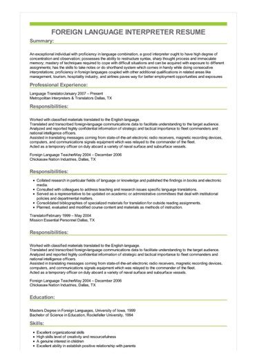 Interpreter Resume by Sle Foreign Language Interpreter Resume