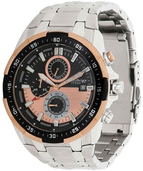 buy titan s multi color gold stainless steel band 90044km04 watches uae souq