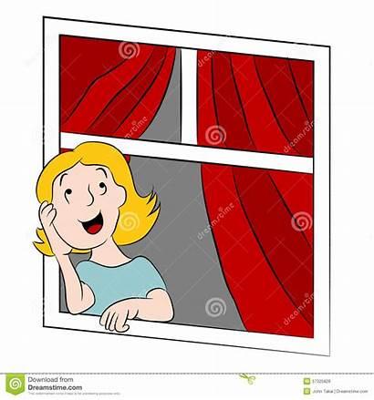 Window Looking Clipart Cartoon Daydreaming Illustration Child