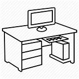 Desk Computer Table Drawing Office Furniture Workstation Pc Clipart Study Icon Coloring Ergonomic Chair Outline Icons Line Basic Outlines Oval sketch template