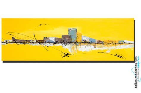 couleur de peinture pour chambre a coucher tableau jaune grand format panoramique abstrait
