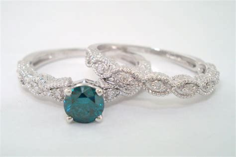 art deco blue diamond engagement ring wedding band sets