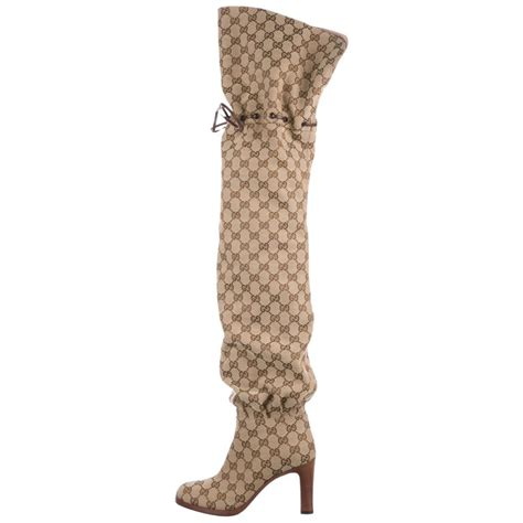 gucci  monogram canvas brown leather tie logo tall thigh high boots  box  stdibs