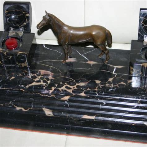 art antike schreibtischgarnitur pferd bronze marmor