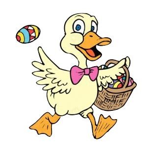 Duck Boat Easter Egg by Duck With Easter Egg Basket Easter Decals Decal Sticker