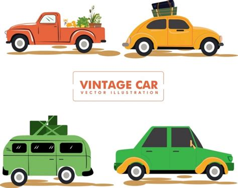 Vintage Car Icons Collection Various Colored Types