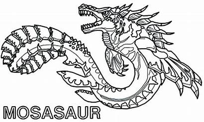 Coloring Dragon Sea Monster Printable Pages Scary