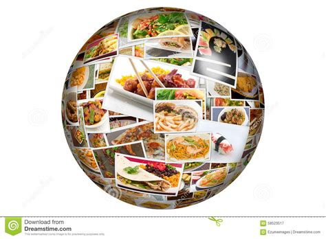 cuisine du monde cuisine collage globe stock illustration image 58523517