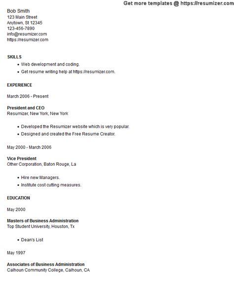 Resumizer Resume Creator Htm by Resume Style 11 Minimal Education Problems