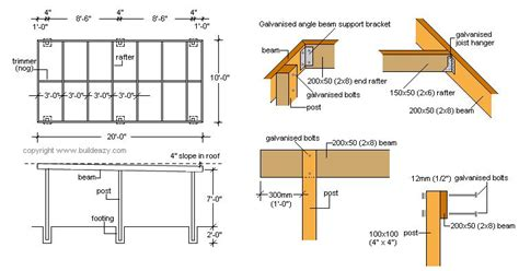 Flat Roof Part Diagram by Flat Roof Carport Plans How To Build A Basic Free Standing
