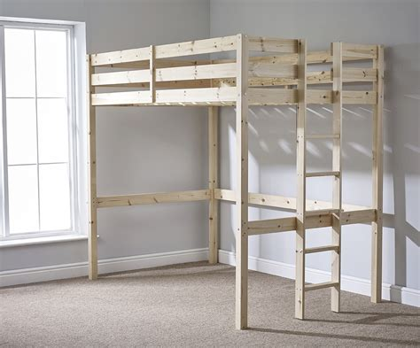 loft bunk bed with 4ft small heavy duty solid pine high