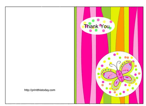 thank you card template free butterfly baby shower thank you cards free printable